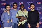 CORAL GABLES, FL - MARCH 05: Gianluca Ginoble, Piero Barone, Ignazio Boschetto of IL Volvo and photographer Johnny Louis (2nd from R) backstage during a meet and greet at Bank United Center on Saturday March 05, 2016 in Miami, Florida. ( Photo by Johnny Louis / jlnphotography.com )