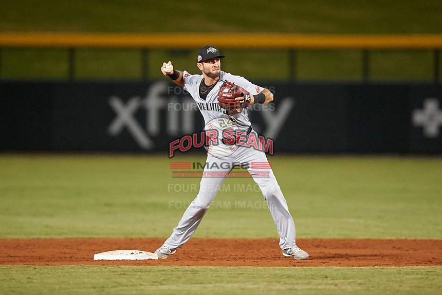 Peoria Javelinas shortstop C.J. Chatham (24), of the Boston Red Sox organization, throws to first base during an Arizona Fall League game against the Mesa Solar Sox on September 21, 2019 at Sloan Park in Mesa, Arizona. Mesa defeated Peoria 4-1. (Zachary Lucy/Four Seam Images)