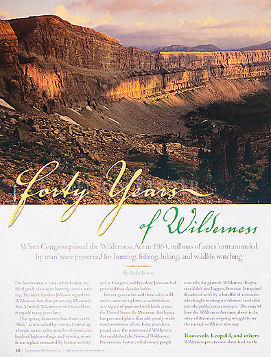 Nelson Kenter photo of the Chinese Wall in the Bob Marshall Wilderness in Montana used for a magazine story on wilderness