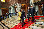 Oslo, Norway - December 10, 2009 -- United States President Barack Obama and First Lady Michelle Obama depart Oslo City Hall following the Nobel Peace Prize ceremony in Oslo, Norway, Thursday, December 10, 2009. .Mandatory Credit: Pete Souza - White House via CNP
