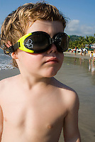 Felix with goggles on the beach in Zihuatanejo. photo shoot in Zihua with Federico Rigoletti and family, Diego Garcia and his daughters, and the Wiseman family as part of the Puntarena cook book