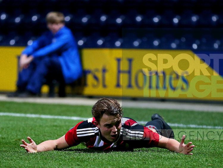 Keegan Burton of Sheffield United under 18's reacts during the FA Youth Cup 3rd Round match at Deepdale Stadium, Preston. Picture date: November 30th, 2016. Pic Matt McNulty/Sportimage