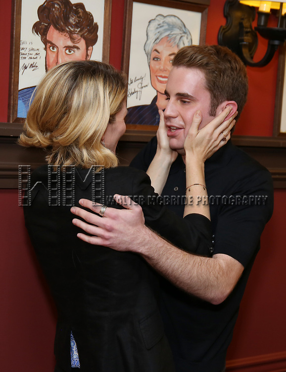 Kelli O'Hara and Ben Platt during the Ben Platt Sardi's Portrait unveiling at Sardi's on May 30, 2017 in New York City.