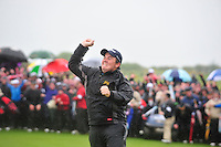 Shane Lowry leaps for joy after winning the 3 Irish Open on 17th May 2009 (Photo by Eoin Clarke/GOLFFILE)