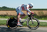 SITTARD, NETHERLANDS - AUGUST 16: Gatis Smukulis of Latvia riding for Katusha Team competes during stage 5 of the Eneco Tour 2013, a 13km individual time trial from Sittard to Geleen, on August 16, 2013 in Sittard, Netherlands. (Photo by Dirk Markgraf/www.265-images.com)