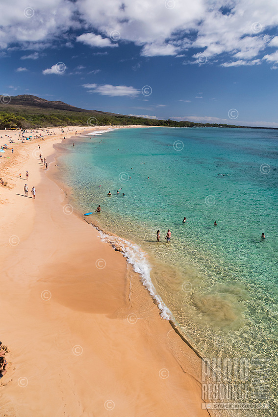 Beachgoers enjoy a clear day at Makena Beach, Maui.