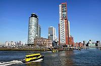 Nederland - Rotterdam -  2019.  Watertaxi bij de Wilhelminapier. In het midden Hotel New York. Rechts Montevideo.   Foto Berlinda van Dam / Hollandse Hoogte