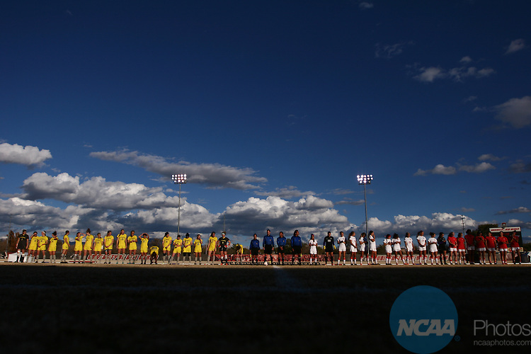 04 NOV 2013: Wyoming (left) and UNLV (right) line up before the starrt of game 1 of the Mountain West Conference Women's Soccer Championship held at the UNM Soccer Complex in Albuquerque, NM. Wyoming advanced  4-2 on penalty kicks. (Juan Labreche/NCAA Photos)