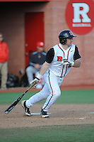 Rutgers Scarlet Knights outfielder Vinny Zarrillo (20) during game game 2 of a double header against the University of Houston Cougars at Bainton Field on April 5, 2014 in Piscataway, New Jersey. Houston defeated Rutgers 9-1.      <br />  (Tomasso DeRosa/ Four Seam Images)