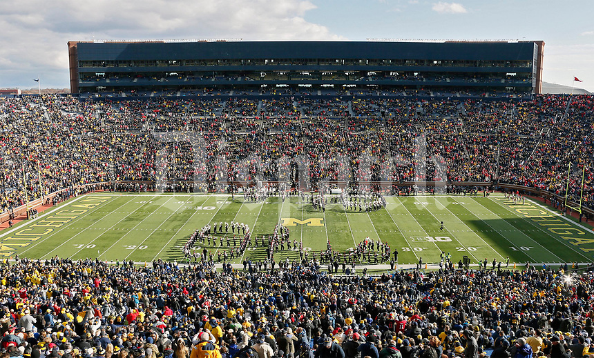 The Ohio State University marching band forms Script Ohio during the pre-game show before Saturday's NCAA Division I football game against the Michigan Wolverines at Michigan Stadium in Ann Arbor on November 25, 2017. [Barbara J. Perenic/Dispatch]