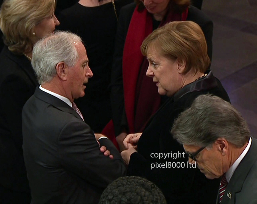 Pic shows: George Bush funeral<br /> <br /> angela Merkel<br /> <br /> <br /> <br /> <br /> <br /> <br /> supplied by Pixel8000 Ltd