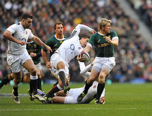 27.11.2010. Jean De Villiers of South Africa takes a pass.International Rugby England vs South Africa at Twickenham Stadium, England.