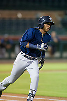 AZL Brewers shortstop Yeison Coca (7) hustles down the first base line against the AZL Giants on August 15, 2017 at Scottsdale Stadium in Scottsdale, Arizona. AZL Giants defeated the AZL Brewers 4-3. (Zachary Lucy/Four Seam Images)