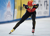 1st February 2019, Dresden, Saxony, Germany; World Short Track Speed Skating; 500 meter men in the EnergieVerbund Arena. Jia Haidong from China on the track.