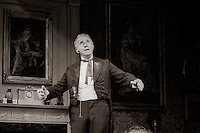 """Mr Posket (Nigel Hawthorne) in """"The Magistrate"""" by Arthur Wing Pinero, directed by Michael Rudman, designed by Carl Toms, National Theatre, London, 1986."""