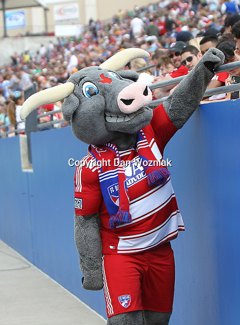 FC Dallas mascot, Hooper, in action during the game between the FC Dallas and the Houston Dynamo at the FC Dallas Stadium in Frisco,Texas.