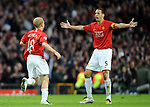 Manchester United's Paul Scholes celebrates his goal.  during the Champions League semi-final 2nd leg match at Old Trafford, Manchester. Picture date 29th April 2008. Picture credit should read: Simon Bellis/Sportimage