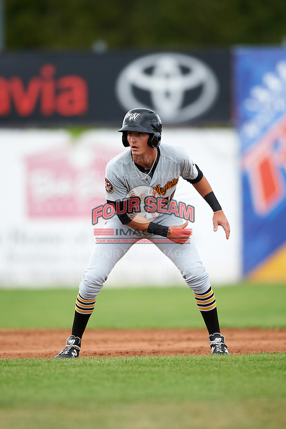 West Virginia Black Bears designated hitter Tyler Leffler (30) leads off second during a game against the Batavia Muckdogs on August 21, 2016 at Dwyer Stadium in Batavia, New York.  West Virginia defeated Batavia 6-5.  (Mike Janes/Four Seam Images)