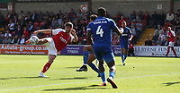 Fleetwood Town's Ched Evans sees this effort blocked<br /> <br /> Photographer Stephen White/CameraSport<br /> <br /> The EFL Sky Bet League One - Fleetwood Town v AFC Wimbledon - Saturday 4th August 2018 - Highbury Stadium - Fleetwood<br /> <br /> World Copyright &copy; 2018 CameraSport. All rights reserved. 43 Linden Ave. Countesthorpe. Leicester. England. LE8 5PG - Tel: +44 (0) 116 277 4147 - admin@camerasport.com - www.camerasport.com