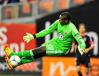 United goalkeeper, Bill Hamid makes a leaping kick save to close out the first half. Sporting Kansas City defeated D.C. United 1-0 during an MLS home opener at the RFK Stadium in Washington, D.C. on Saturday, March 10, 2012. Alan P. Santos/DC Sports Box