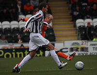 Lee Mair blocked by Willo Flood in the St Mirren v Dundee United Clydesdale Bank Scottish Premier League match played at St Mirren Park, Paisley on 27.10.12.