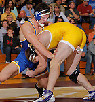 SPEARFISH, S.D. -- 184  Shea Nolan, left, of South Dakota State tries to shed Shane Woods of the University of Wyoming during their 184 lb. match Sunday at the Young Center in Spearfish, S.D.  (Photo by Richard Carlson/Inertia via dakotapress.org)