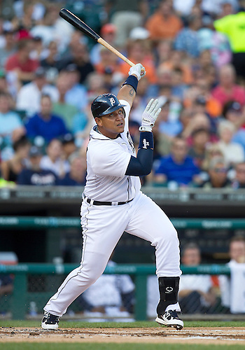 August 07, 2012:  Detroit Tigers third baseman Miguel Cabrera (24) at bat in the first inning of MLB game action between the New York Yankees and the Detroit Tigers at Comerica Park in Detroit, Michigan.  The Tigers defeated the Yankees 6-5.