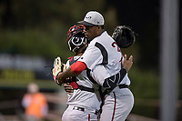 Lake Elsinore Storm relief pitcher Dauris Valdez (32) celebrates with catcher Marcus Greene Jr. (6) after getting the last out of a California League game against the Modesto Nuts at John Thurman Field on May 12, 2018 in Modesto, California. Lake Elsinore defeated Modesto 4-1. (Zachary Lucy/Four Seam Images)