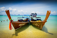 Boats on the beach, Ko Ngai island, Trang islands, Krabi Province, Thailand
