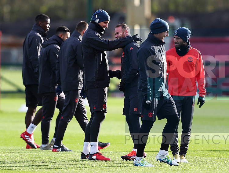 Zlatan Ibrahimovic of Manchester United shares a joke with Wayne Rooney during the UEFA Europa League training session at the AON Training Complex, Manchester. Picture date: November 23rd 2016. Pic Matt McNulty/Sportimage