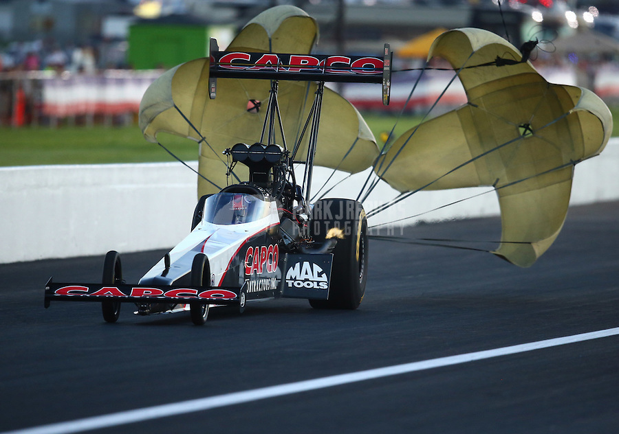 Sep 3, 2016; Clermont, IN, USA; NHRA top fuel driver Steve Torrence during qualifying for the US Nationals at Lucas Oil Raceway. Mandatory Credit: Mark J. Rebilas-USA TODAY Sports