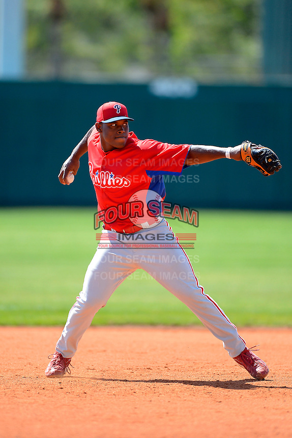 Philadelphia Phillies infielder William Carmona (31) during practice before a minor league Spring Training game against the Atlanta Braves at Al Lang Field on March 14, 2013 in St. Petersburg, Florida.  (Mike Janes/Four Seam Images)