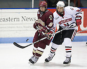 Nate Gerbe (BC - 9), David Strathman (NU - 6) - The visiting Boston College Eagles defeated the Northeastern University Huskies 4-1 on NU's senior night, Saturday, March 8, 2008, at Matthews Arena in Boston, Massachusetts.