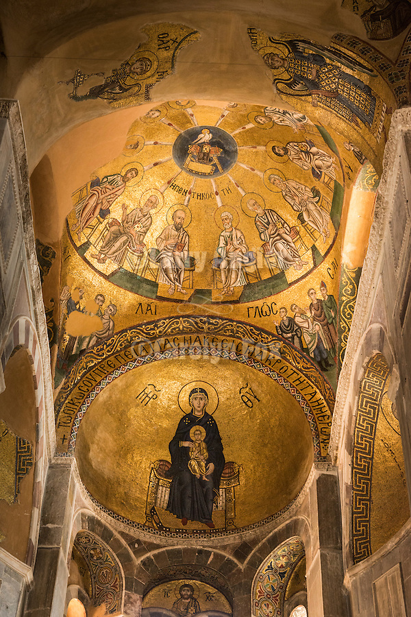 Golden mosaic ceiling with the Mother of God, Theotokos, inside the chapel of the walled 10th century monastery of Hosios Loukas, Distomo, Greece
