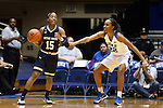 01 February 2016: Notre Dame's Lindsay Allen (15) and Duke's Oderah Chidom (22). The Duke University Blue Devils hosted the University of Notre Dame Fighting Irish at Cameron Indoor Stadium in Durham, North Carolina in a 2015-16 NCAA Division I Women's Basketball game. Notre Dame won the game 68-61.