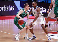 Real Madrid's Dontaye Draper (r) and Union Olimpija Ljubljana's Klemen Prepelic during Euroleague 2012/2013 match.December 13,2012. (ALTERPHOTOS/Acero) /NortePhoto