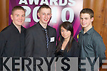 Aidan O'Sullivan, Oisin O'Callaghan Finalist, Katie Nolan and Tadhg Moynihan from Scoil Phobail Sliamh Luachra Pictured at the Young Entrepreneur Awards at the Malton Hotel Killarney on Thursday Evening.