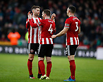 Oliver Norwood of Sheffield Utd and John Fleck of Sheffield Utd celebrate the win during the Premier League match at Bramall Lane, Sheffield. Picture date: 9th February 2020. Picture credit should read: Simon Bellis/Sportimage