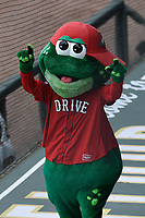 """""""Reedy Rip'It,"""" mascot of the Greenville Drive in a game against the Hickory Crawdads on Sunday, July 16, 2017, at Fluor Field at the West End in Greenville, South Carolina. Hickory won, 3-1. (Tom Priddy/Four Seam Images)"""