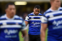Joe Cokanasiga of Bath Rugby looks dejected after the match. Gallagher Premiership match, between Bath Rugby and Gloucester Rugby on September 8, 2018 at the Recreation Ground in Bath, England. Photo by: Patrick Khachfe / Onside Images