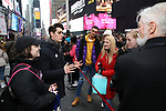 Stephanie Bissonnette and Kyle Selig Along with Actors' Equity members talk to Broadway audiences about why they are fighting for a better development contract with the Broadway League after the Union announced Monday a strike for all development work with the Broadway League. TKTS Booth, Duffy Square Neil January 8, 2019 in New York City.