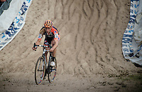 "Jan Denuwelaere (BEL/Vastgoedservice-Golden Palace) got impressive roaring ""boos"" from the crowd every time he entered ""The Pit"" because of his non-sportlike maneuver the day before in the Koppenbergcross where he hindered Sven Nys in the sprint.<br /> <br /> GP Zonhoven 2014"