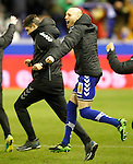 Deportivo Alaves' coach Mauricio Pellegrino (l) and Gaizka Toquero celebrate the victory in the Spanish Kings Cup semifinal. February 08,2017. (ALTERPHOTOS/Acero)