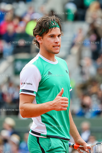 Dominic Thiem (AUT), JUNE 7, 2017 - Tennis : Dominic Thiem of Austria during the Men's singles quarter-final match of the French Open tennis tournament against Novak Djokovic of Serbia at the Roland Garros in Paris, France. (Photo by AFLO)