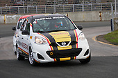 Two Nissan Micras race  at the Nissan Micra Cup challenge held during the GP3R weekend in Three-Rivers, Quebec