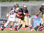 Palos Verdes, CA 11/03/17 - Justin Martz (Palos Verdes #10) and Andres Park (Peninsula #71) in action during the Palos Verdes vs Palos Verdes Peninsula CIF Varsity football game at Peninsula High School for the battle of the hill.