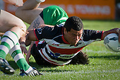Siale Piutau reaches out out to score the Steelers bonus point try. Air New Zealand Cup rugby game between the Counties Manukau Steelers & Manawatu Turbos, played at Growers Stadium Pukekohe on Staurday September 20th 2008..Counties Manukau won 27 - 14 after trailing 14 - 7 at halftime.