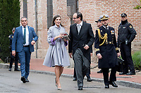Kings of Spain, King Felipe VI of Spain and Queen Letizia of Spain delivers the Cervantes prize for literature in Spanish to the Uruguayan writer Ida Vitale at the Paraninfo of the Alcala University in the World Heritage City of Alcala de Henares near Madrid on April 23, 2019.<br /> Queen Letizia of Spain