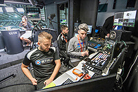 Adam Stepien (L) and Ewan Donaldson (C) at the broadcast suite and studio for the Swansea City AFC live broadcasts at the Liberty Stadium, Wales, UK. Wednesday 30 November 2018