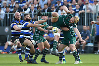 Josh McNally of London Irish loses the ball in the air. Aviva Premiership match, between Bath Rugby and London Irish on May 5, 2018 at the Recreation Ground in Bath, England. Photo by: Patrick Khachfe / Onside Images